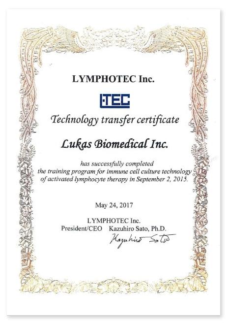 LuLym抗癌技術來自 日本LYMPHOTEC公司授權 ,圖片為台灣路迦生醫的癌症免疫細胞療法的技術移轉證書